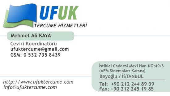 Ufuktercume / İstiklal Caddesi / Taksim / Beyoğlu / 0212 2448939