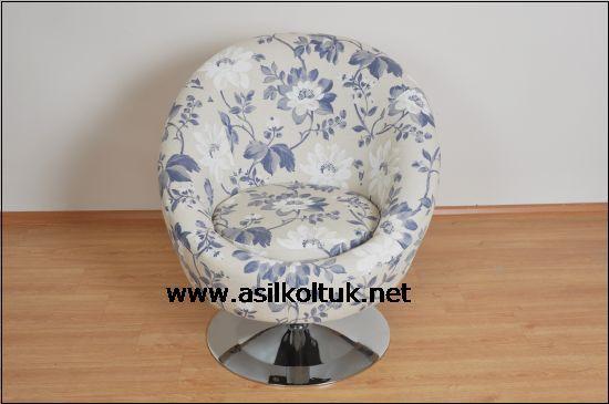 Çiçekli Mavi Kumaşlı Berjer Modeli