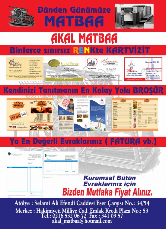Akal Matbaa Olarak 1996 Yılından Beri Hizmetinizdeyiz. İstanbul Akal Matbaa