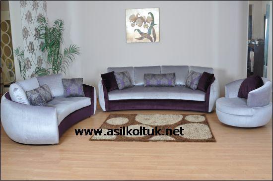 Mor Gri Kumaşlı Avangart Koltuk Modeli