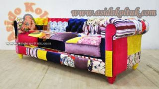 Patchwork Renkli Chester Kanepe