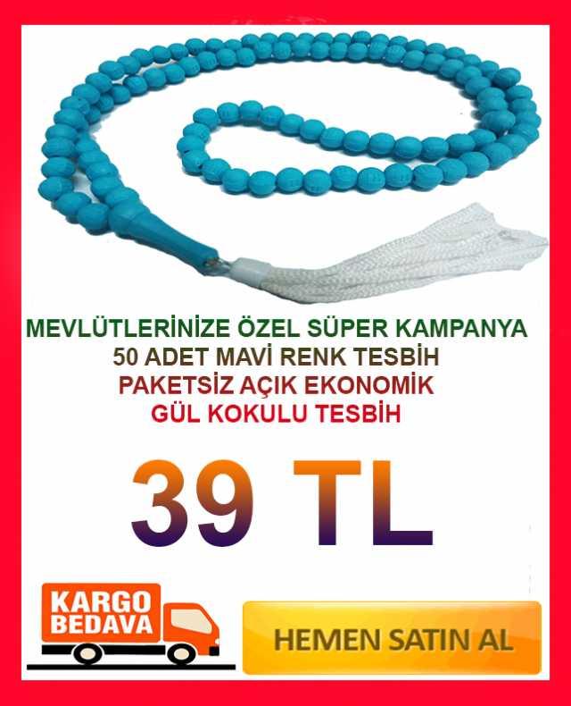 50 Adet Sade Mavi Renk Hediyelik Kutularda Kokulu Tesbihler