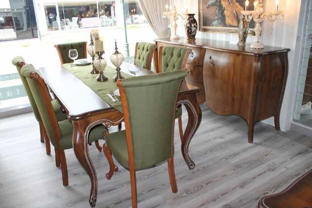 country yemek odası, masa, sandalye, konsol, tv ünitesi