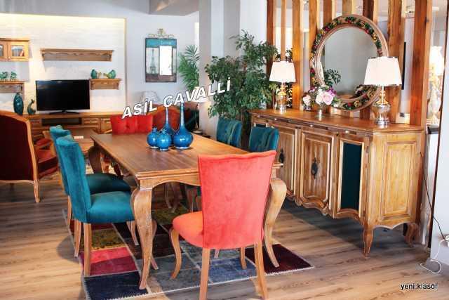 conutry yemek odası, masif masa, konsol, tv ünitesi, özel ürünler