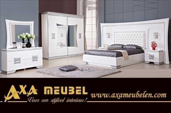 Beyaz Parlak Avangarde Modern Barok Yatak Odası Axa Mobilya Hollanda
