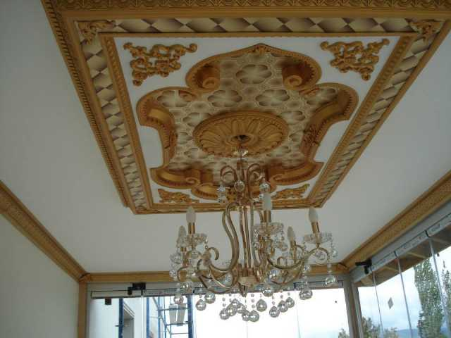 gergi tavan sistemleri, sedef desenli baskı boya, alçıpan, asma tavan