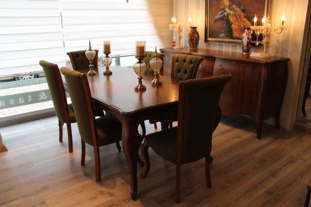 country yemek odası, masif masa, konsol, sandalye, tv ünitesi, büfe
