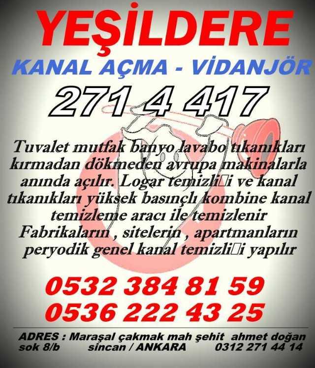 Yeşildere Tesisat Sincan Vidanjör Yeşildere Vidanjör Ankara Vidanjör