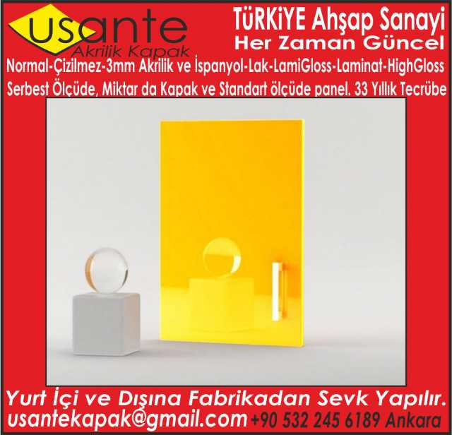 Usante Akrilik Kapak Ve Panel 1 8ve0 8cmx122x280 Cm Panel
