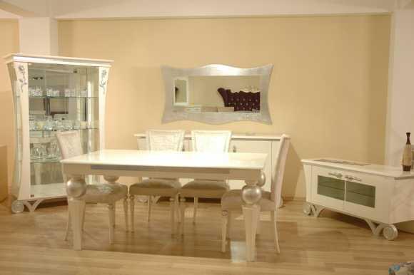 Avangarde Ahşap Beyaz Desenli Yemek Odası