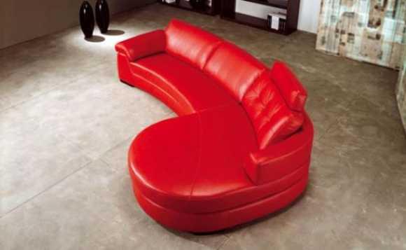 Kırmızı Deri Özel Tasarım Modern Yuvarlak Köşe Koltuk