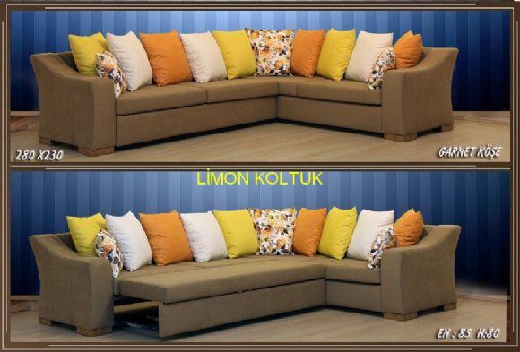 Limon Koltuktan Garnet Yataklı Köşe Koltuk Takımı
