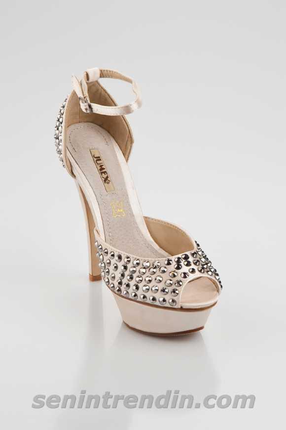 Jumex Altın Ayakkabı Bayan Yüksek Topuklu