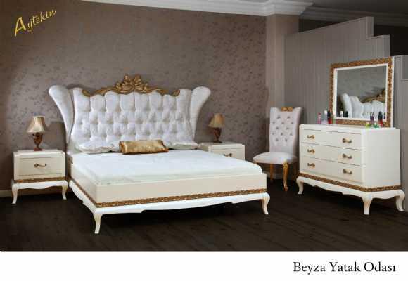 Avangarde Beyaz Fiyonklu Yatak Odası Takımı