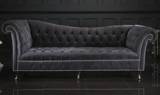 Siyah Chester Koltuk, Kanepe Modeli Savaroski Taşlı