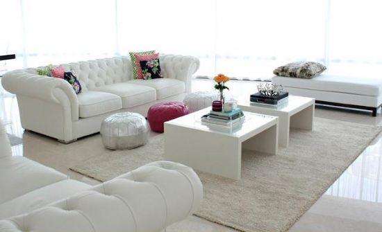 Beyaz Chester Koltuk Takımı Deri Ve Kumaş Seçenekleri, Uygun Fiyatları