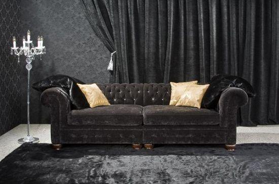 Siyah Chester Koltuk Takımı Kadife, Deri Ve Kumaş Seçenekleri, Uygun Fiyatları