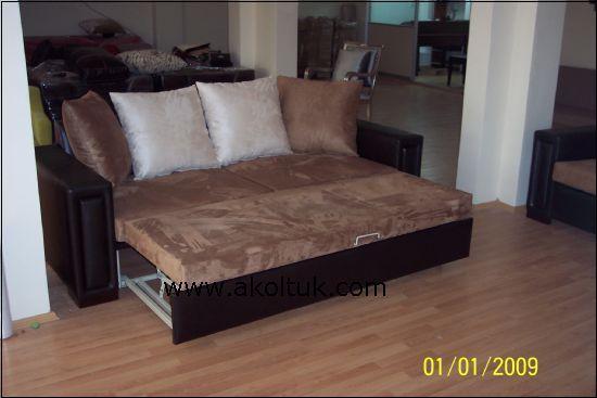 Yataklı Kanepe Süet Kumaş Ve Deri Döşeli Şık Kullanışlı Kanepe