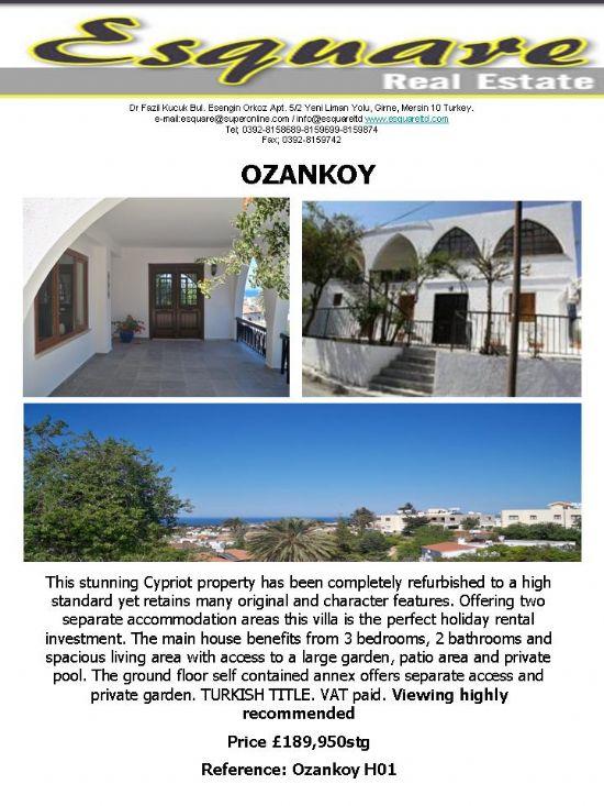 Kuzey Kıbrıs Ozanköyde Satılık Villa, Satılık Daire, Satılık Ev, Satılık Arazi