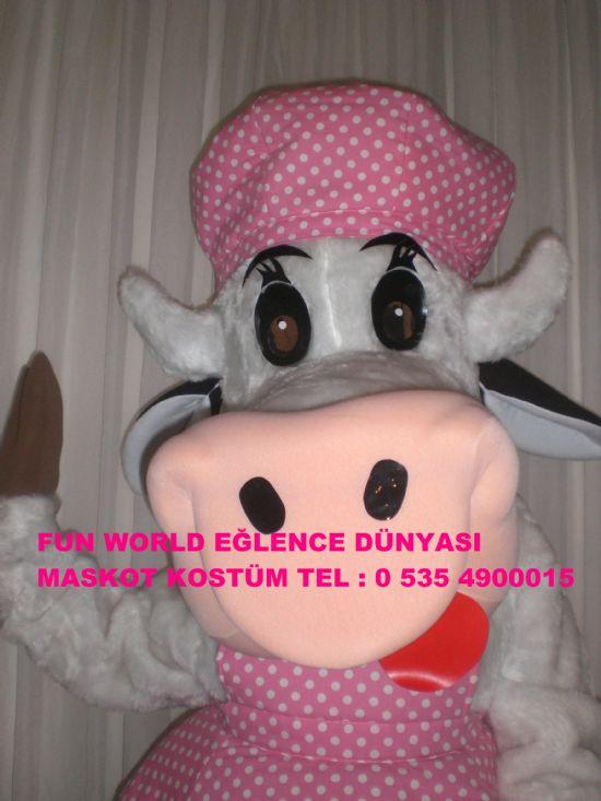 Sütaş çılgın inek maskot kostüm çoçuk panayırı fuarlar imza