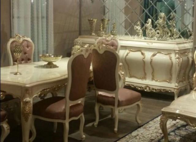 Altın Varak Kabartmalı Yemek Odası