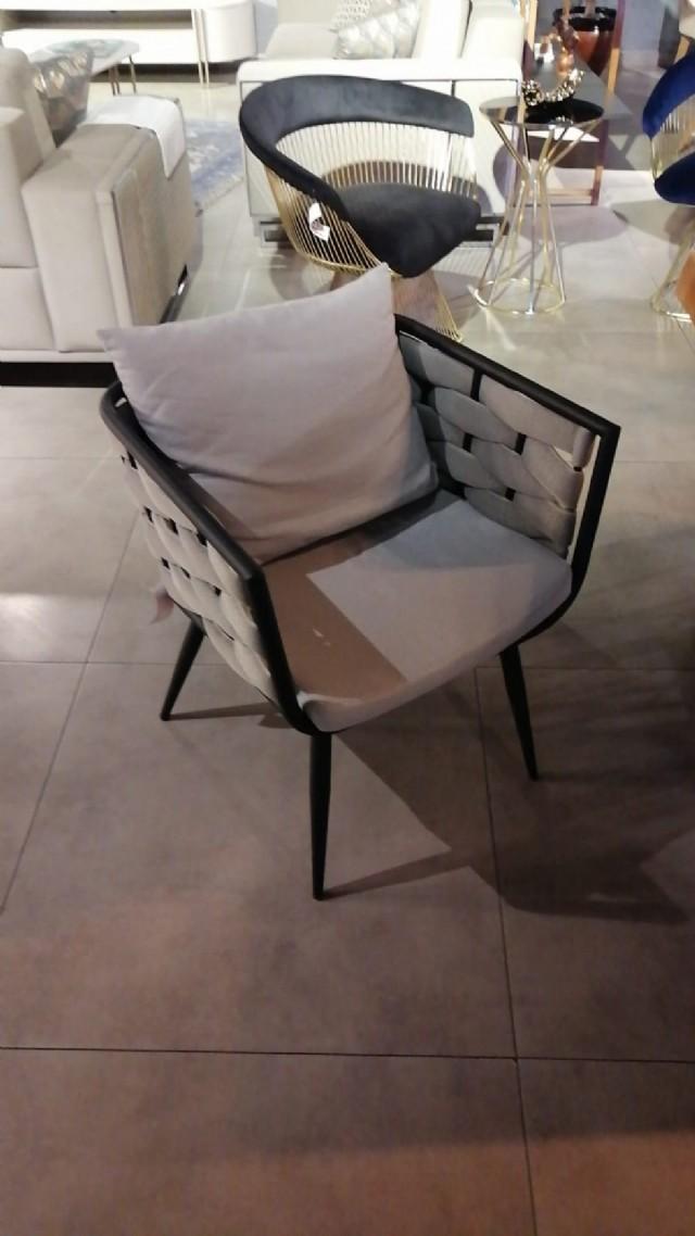 Boru Metal Sandalye Modeli Örgülü