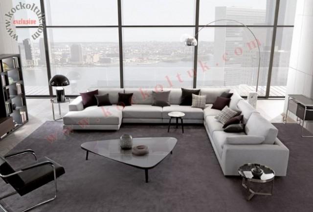 Büyük Salon Modern Köşe Koltuk Takımı U Şeklinde Rahat Konforlu Özel Üretim