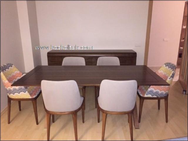Ceviz Masa Konsol Ve Modern Sandalyeli Yemek Odasi Takimi