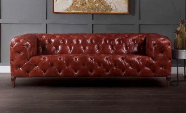Chester Deri Kanepe İtalyan Modeli Kırmızı Renk Gerçek Deri Koltuk