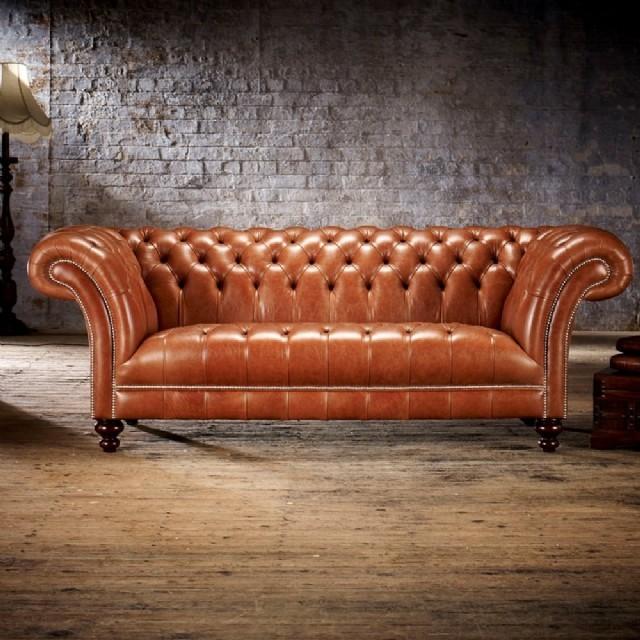 Chesterfield Kanepe Modeli Oturumu Sabit Döşeme Gerçek Deri Oturum Sabit Döşeme İle Modern Bir Dokun