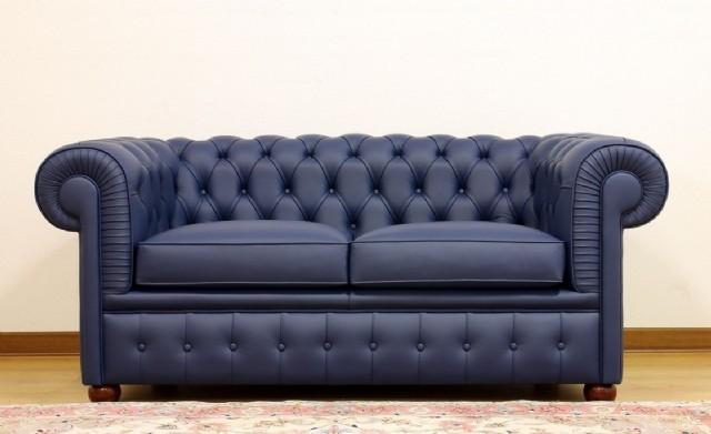 Chesterfield Koltuk Takım Gerçek Deri Kanepe Modeller Mavi Renk Deri