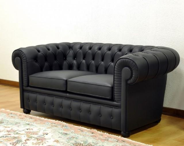 Chesterfield Koltuk Takımlar Gerçek Deri Kanepe Modeller Siyah Renk