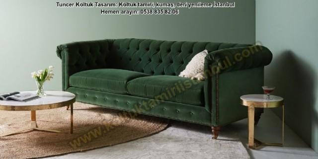 Chesterfield Koltuk Yeşil Renk Kadife Kumaş Kişiye Özel Ölçü Tasarım Koltuk Döşeme