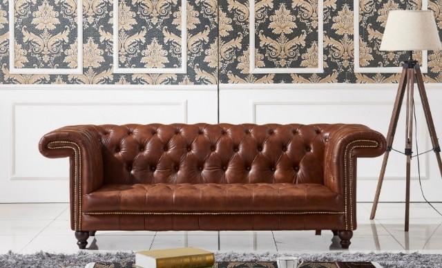 Chestnut Leather Sofa, Hakiki Deri Chester Lüks Kanepeler