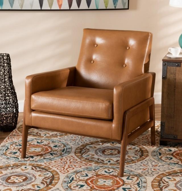 Deri Ahşap Minder Koltuk Keskin Sandalye Retro Sandalye Vintage Tekli