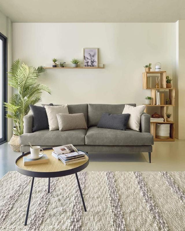 Deri Koltuk Takımı Modern Oturma Grubu Üçlü Kanepe Modeli Siyah Renk