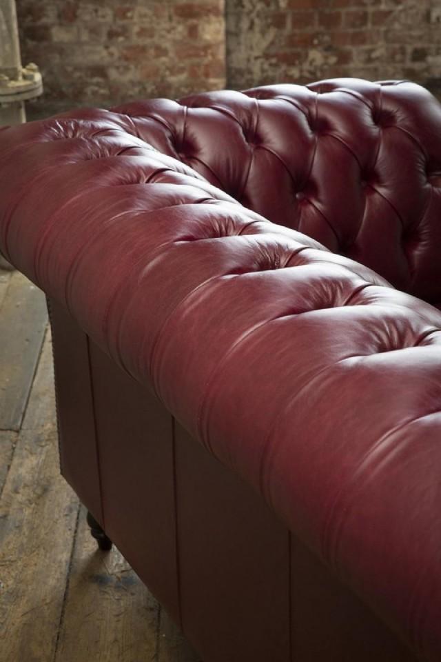 Deri Koltuk Takımlar Chesterfield Deri Kanepe Oturum Sabitli Tasarım