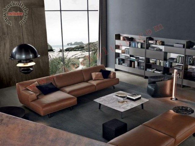 Deri Modern L Koltuk Takımı Kahverengi Siyah Zengin Renk Ve Ölçü Seçenekleri