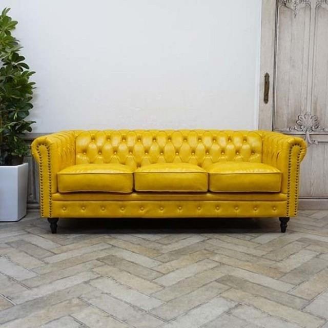Deri Sarı Renk Chester Kanepe Modelleri İstenilen Adetle Üretim