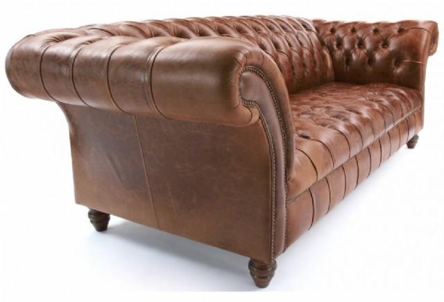 erfield koltuk kahve renk deri modeller düğmeli üçlü koltuk