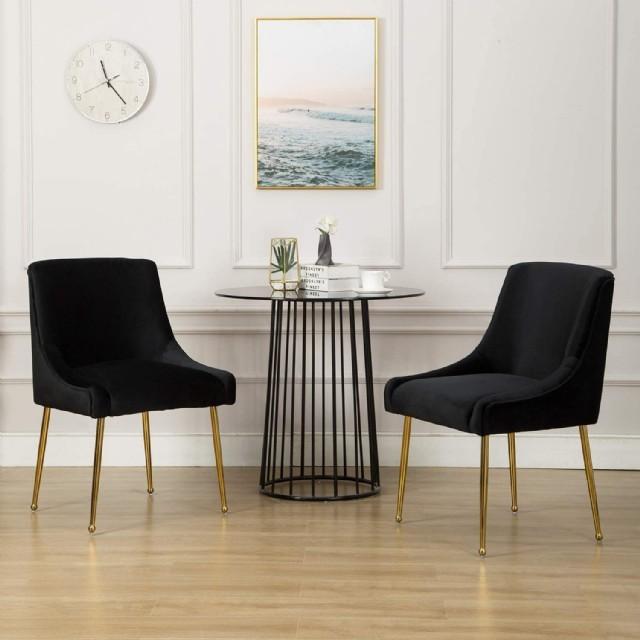 Filinta Sandalye Siyah Kadife Metal Sarı Ayaklı Lüks Sandalye