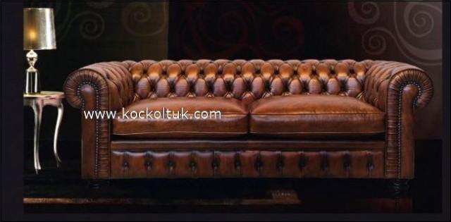 Gold Deri  Chester Koltuk