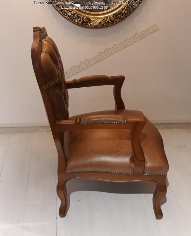 Güzel Butik Klasik Berjer, Tekli Koltuk Modeli Sipariş Üzeri Adetli Üretim İtalyan Model Tekli Deri