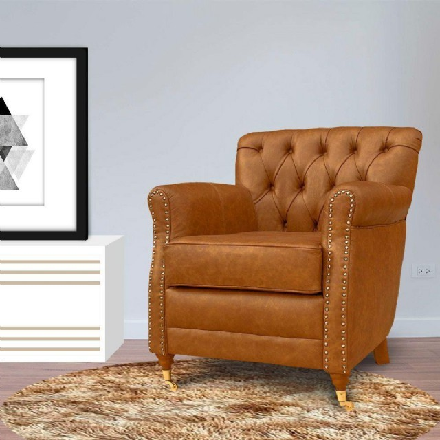 Hakiki Deri Berjer Modeli Taba Renk Gerçek Deri Döşemeli Olup Oturma Odanıza Şık Ve Rahat Bir Minyon