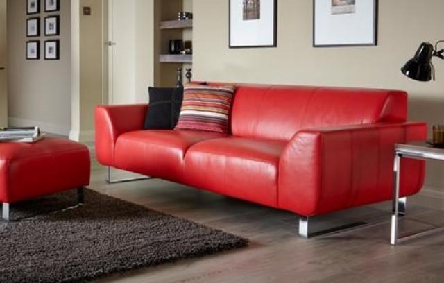 Hakiki Deri Kanepe Modeli Sabit Oturum Modern Deri Kanepe Kırmızı Renk
