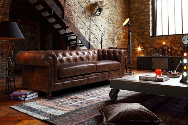 Hakiki Deri Kanepe Modelleri Original Leather Chesterfield