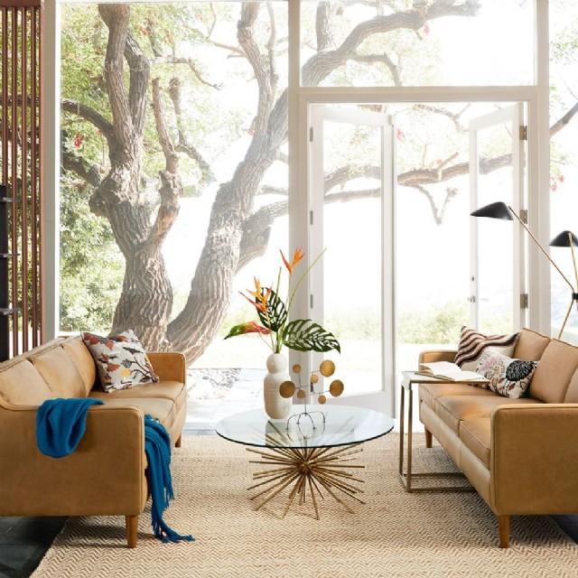 Hakiki Deri Oturma Odası Koltuk Takımı Modern Tasarım Taba Renk Deri Koltuk Takımı Bir Adet Üçlü, Bi