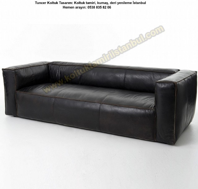 Hakiki Deri Üçlü Kanepe Modern Koltuk Siyah Renk Kanepe Üretimi
