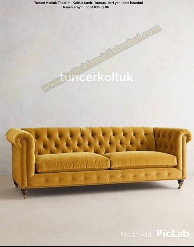 Hardar Sarı Chester Kanepe Modelleri, Koltuk Döşeme