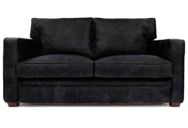 İki Kişilik Kanepe Modeli Siyah Renk Deri İle Üretilmiş Maksimum Konfor İçin Ekstra Geniş Modern Kon